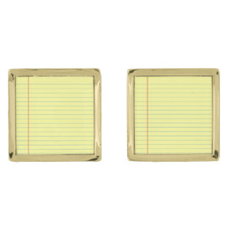 Legal Pad Pattern Gold Finish Cufflinks
