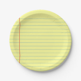 Legal Pad Pattern Paper Plate