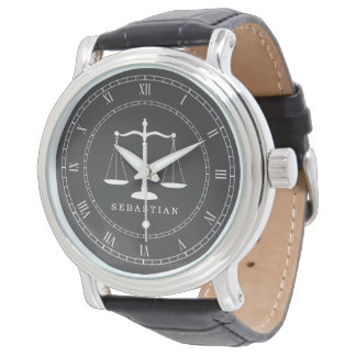 Legal Scales Custom Name Lawyer Watch