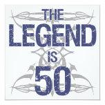Legend 50th Birthday 13 Cm X 13 Cm Square Invitation Card