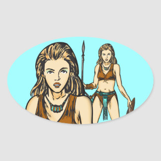 Legend Of Amazon Women Oval Stickers