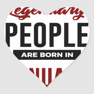 Legendary Born In January Babies Birthday Heart Sticker
