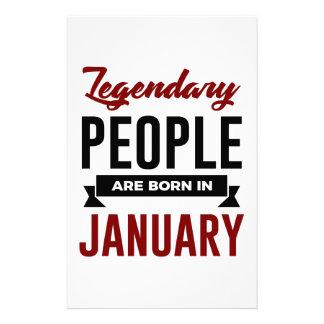 Legendary Born In January Babies Birthday Stationery