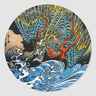 Legendary mythical Dragon Utagawa Kuniyoshi art Classic Round Sticker