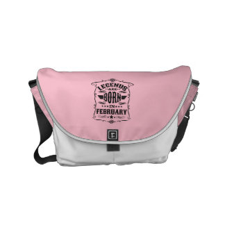 Legends are Born in February (Black Text) Messenger Bag