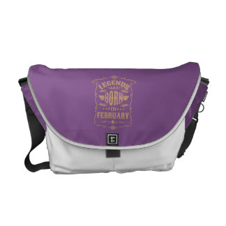 Legends are Born in February (Pale Brown Text) Messenger Bags