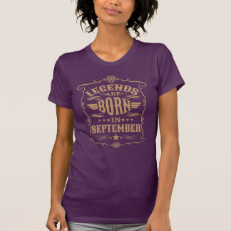 Legends are Born in September (Pale Brown Text) T-Shirt