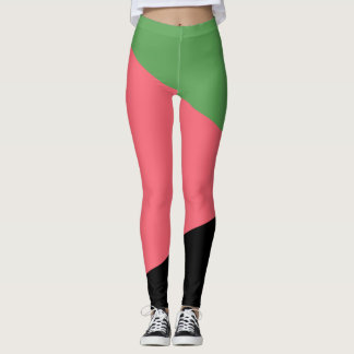 Legging Abstracts Green/Rose/Noir