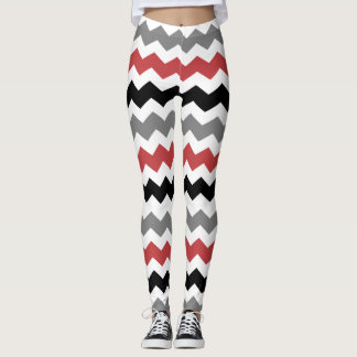 Legging Pattern Chevron Rouge/Gris