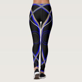 Leggings #15 Blue and Grey on Black