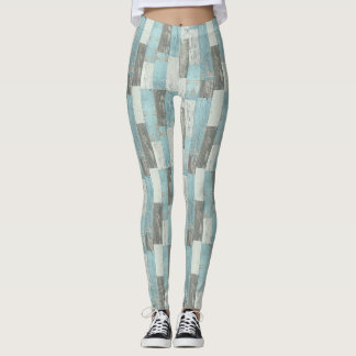 Leggings Blue Wood Print
