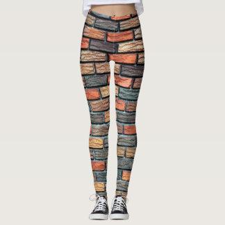 Leggings-brick texture leggings