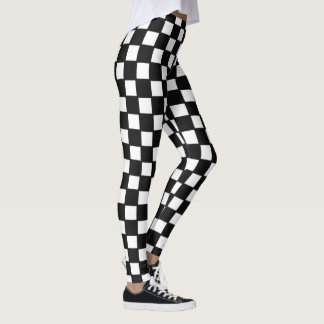 Leggings featuring black and white checkers.