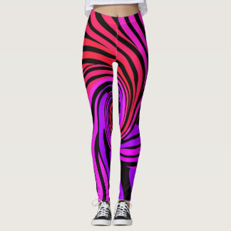 LEGGINGS TWIRL STRIPES IN RED, BLACK, HOT PINK