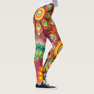 Leggings Wild Flowers Bright Color Tights