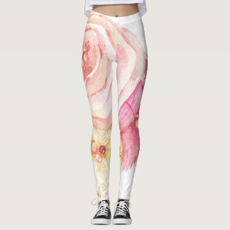 Leggings with Pink & Yellow All-Over Flower