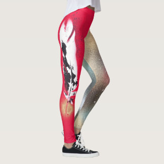 Leggings with red and gold feather prints