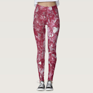 Leggings with roze, pink quartz mineral pattern
