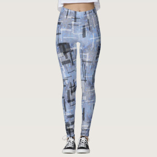 Leggings with strokes of Blues and greys