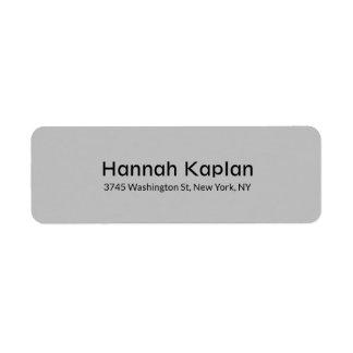 Legible Grey Modern Plain Minimalist Professional Return Address Label