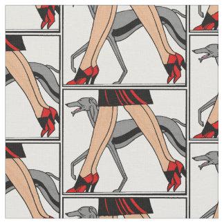 Legs Art Deco Women Greyhound Whippet Dog R Fabric