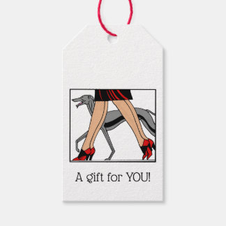 Legs Art Deco Women Greyhound Whippet Dog R Gift Tags