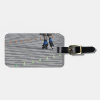 Legs of guy on inline skates . Inline skaters Luggage Tag