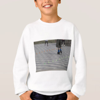 Legs of guy on inline skates . Inline skaters Sweatshirt