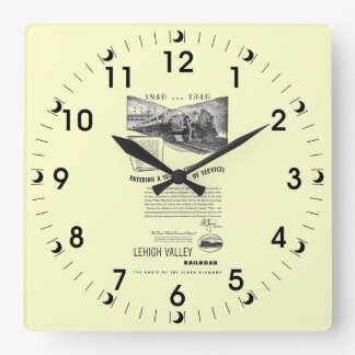 Lehigh Valley Railroad-A Second Century of Service Square Wall Clock
