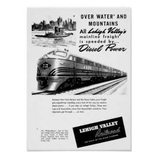 Lehigh Valley Railroad - New Diesel Power 1950 Poster