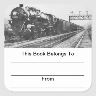 Lehigh Valley Train Bookplates Square Sticker