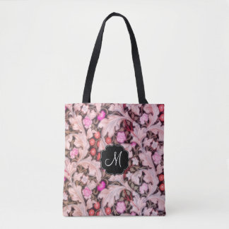 Leicester Pink Floral Pattern with Monogram Tote Bag
