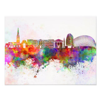 Leicester skyline in watercolor background photo art