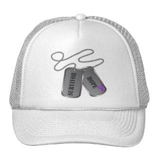 Leiomyosarcoma Survivor Hope Dog Tags Trucker Hat