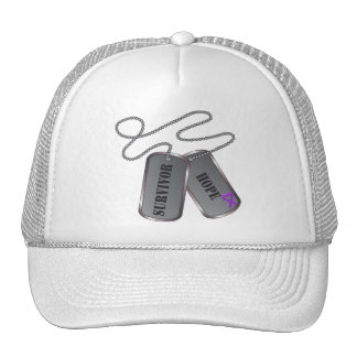 Leiomyosarcoma Survivor Hope Dog Tags Trucker Hats
