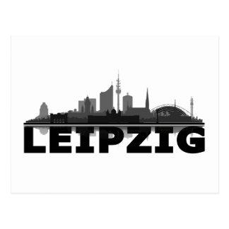 Leipzig town center of skyline - postcard