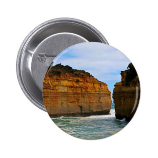 Leisure Themed, Two Cliffs Face Each Other Separat 6 Cm Round Badge