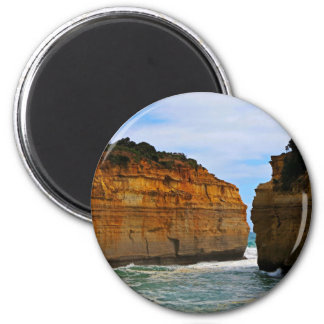 Leisure Themed, Two Cliffs Face Each Other Separat 6 Cm Round Magnet