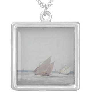Leith Roads with Shipping, 19th century Silver Plated Necklace