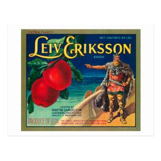 Leiv Eriksson Apple Label - Cashmere, WA Postcard
