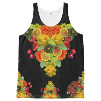 Lemon and Lime Fruit Print Floral All-Over Print Singlet