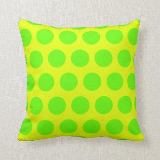 Lemon and Lime Green Polka Dots Throw Pillows