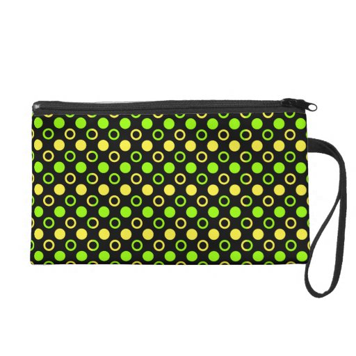 Lemon And Lime Rings And Polka Dots Wristlet Clutch