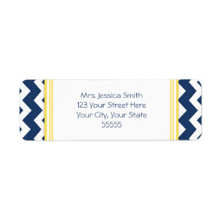 Lemon Blue Chevrons Custom Return Address Labels