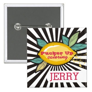 Lemon branch groovy rays chef catering bakery 15 cm square badge