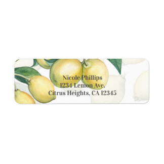 Lemon Branches White & Yellow Country Rustic Favor Return Address Label