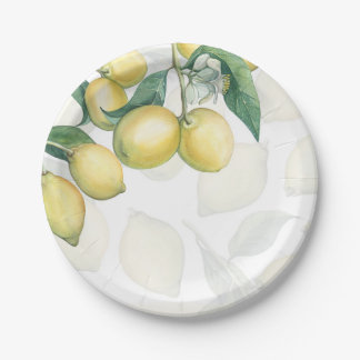 Lemon Branches White & Yellow Country Rustic Party Paper Plate