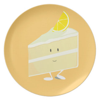 Lemon cake slice character party plate