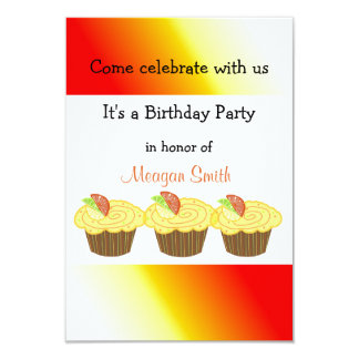 Lemon Candied Cupcakes 9 Cm X 13 Cm Invitation Card