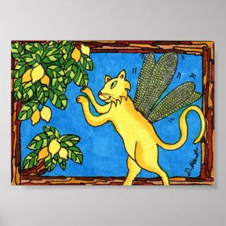 Lemon Cat Fairy Mini Folk Art Poster